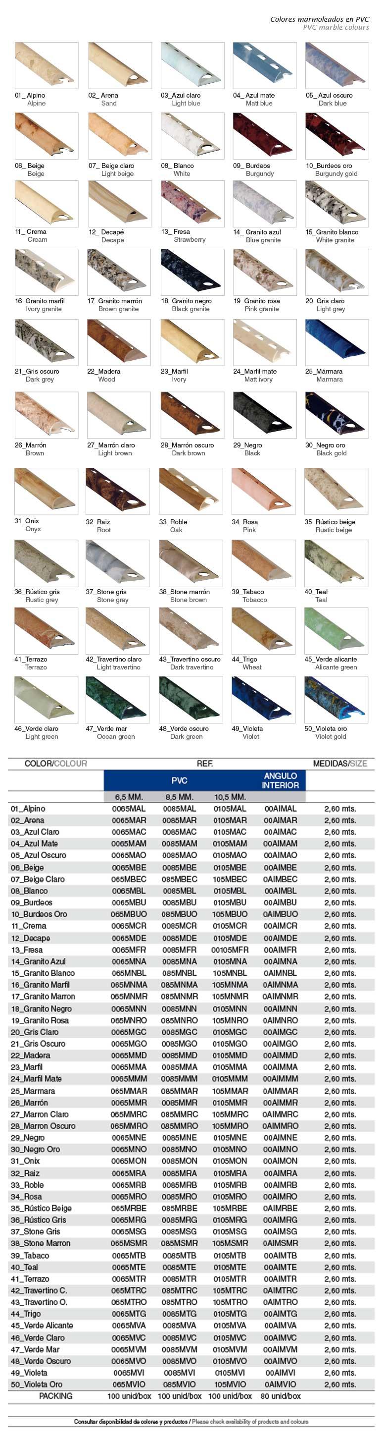 Colores marmoleados PVC